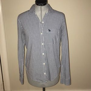 Navy and white check collared shirt